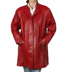 3 4 length red leather swing coat sl11061