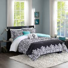intelligent design hazel 5 piece black aqua king california king damask comforter set