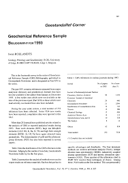 Geochemical Reference Sample Bibliography For 1993