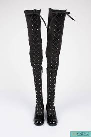 chanel knee high boots. chanel thigh high lace-up boots - black 2 knee
