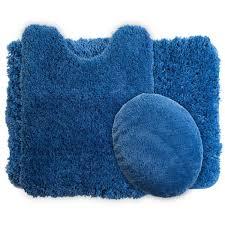 3 piece navy super plush non slip bath mat set