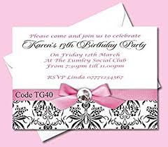 Free 13th Birthday Invitations Personalised Teenage Girls Birthday Party Invitations Cards Ages 13th 14th 15th 16th 17th 18th 19th Size A6 148mm X 105mm All Orders Come With