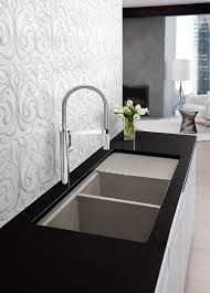 Granite Kitchen Sink Reviews Kitchen Kitchen Sinks And Faucets Black Granite Countertop Triple