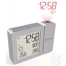 proji projection clock with indoor outdoor temp forecast silver bar369p