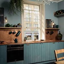 75 Beautiful <b>Kitchen</b> With An Integrated Sink And Blue Cabinets ...