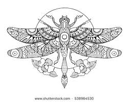 Small Picture Dragonfly Coloring Book Adults Vector Illustration Stock Vector