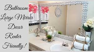 Diy Renter Friendly Large Bathroom Mirror Design Youtube