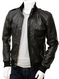 men s black leather er jacket belgrade front