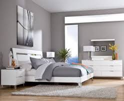 Modern Bedroom Color Schemes Grey Wall Color Scheme And White Bedding Sets In Modern Bedroom