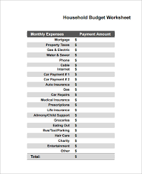 Sample Household Budget Template