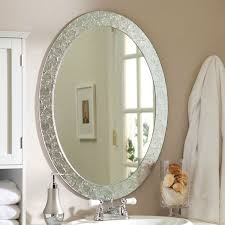 oval mirrors for bathroom. Oval Frame-less Bathroom Vanity Wall Mirror With Elegant Crystal Border Mirrors For E