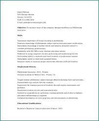 Entry Level Phlebotomist Resume Entry Level Cover Letter