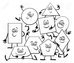 基本的な幾何学図形面白いキャラクター塗り絵の黒と白の漫画イラスト