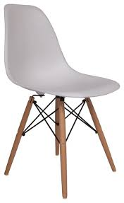 Molded Plastic Side Chair Wood Leg Base White Shell By Lemoderno, Qty 1  midcentury-