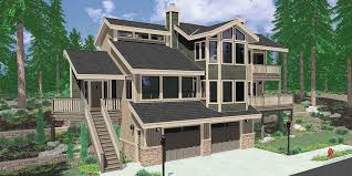 house front color elevation view for 9600 view house plans sloping lot house plans
