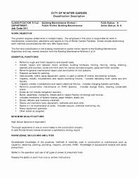 Building Maintenance Job Description For Resume