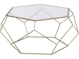 hexagonal glass coffee table gold metal frame libra intended for and decorations 17