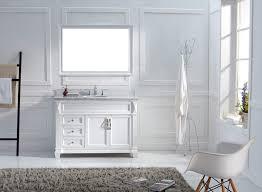 virtu usa 48 victoria single round sink bathroom vanity set in white with italian carrara