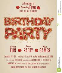 Birthday Invitation Flyer Template Birthday Party Invitation Template With Pizza Letters Stock Vector 5