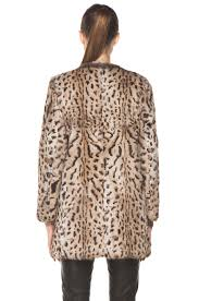 image 5 of a p c lapin imprime leopard fur jacket in beige