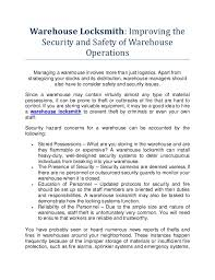 essay warehouse warehouse specialist cover letter the warehouse  warehouse locksmith improving the security and safety of warehouse o warehouse locksmith improving the security and