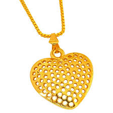 small heart shaped gold plated pendant with chain for girls sds263 sds263