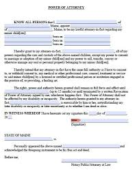 Power Of Attorney For Child Care Free Minor Child Power Of Attorney Maine Form Pdf