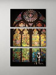 banksy stained glass cathedral triptych canvas wall art intended for large stained glass wall art photo