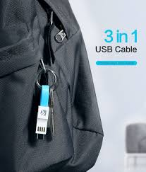 FLOVEME <b>3 in 1</b> Mini Keychain USB Cable <b>Micro</b> USB <b>Type C</b> For ...