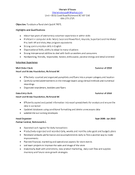 Mail Clerk Resume Waiter Resume Examples For Letters Job Application