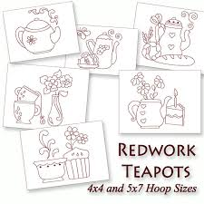 Redwork Machine Embroidery Designs Free Kitchen Teapots Redwork Machine Embroidery Patterns