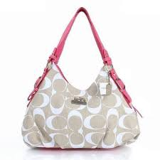 Coach Fashion Signature Medium Pink Ivory Shoulder Bags ERF Give You The  Best feeling!