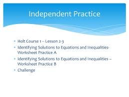 equations and inequalities worksheet practice b challenge independent practice holt course 1 lesson 2 3