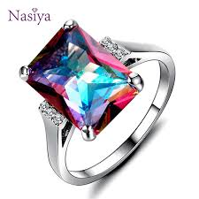 2019 <b>Natural Mystic Fire Rainbow Topaz</b> Rings 10x14MM Big ...