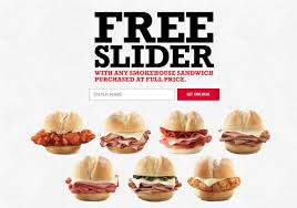 arby s free slider promotion free slider with smokehouse sandwhich purchase