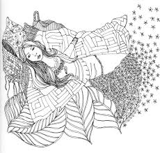 Day 16 of the Drawing Challenge – Recent Artwork by Jessie Dodington & pen and ink drawing of woman in quilt nature bed leaves Adamdwight.com