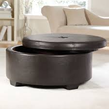 Charming Round Black Leather Ottoman Coffee Table With Storage