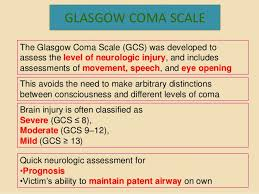 Glasgow Coma Scale Assessment Chart Glasgow Coma Scale Presentation