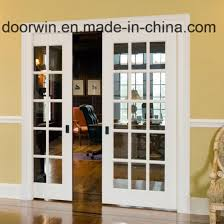 china supplier flush door glass panels double door with grilles design