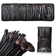 amazon nicee tm 32 pcs professional cosmetic makeup brush set kit with synthetic leather case black with accessory cable tie beauty