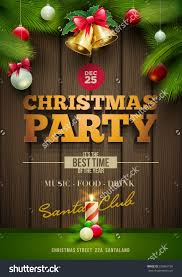 vector christmas party poster design templatemessages stock vector vector christmas party poster design template messages and objects on dark wooden background elements