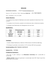 Resume Format For Diploma In Mechanical Engineering It Resume