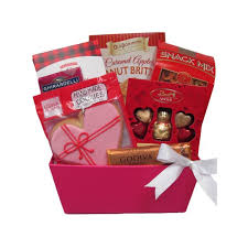 our sweet sentiments gift basket offers tasty sweets including lindt amour valentine chocolates caramel apple peanut brittle ste julie handmade creme