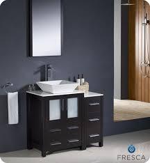 fresca torino 36 espresso modern bathroom vanity w side cabinet vessel sink