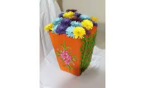News Paper Flower Vase Flower Vase Made With Cardboard Fringed Paper Flowers