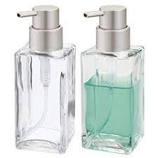 Amazon.com: mDesign Square Glass Refillable Liquid Soap or Sanitizer ...