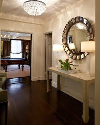 mirror hall table. Delightful Crystal Chandelier Remodeling Ideas With Round Wall Mirror Nailhead Trim Unique Console Table Hall