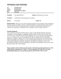 Resume Cover Letter Internal Position Resume For Study