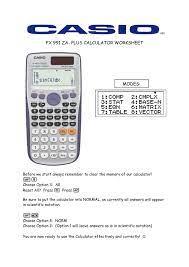 fx 991 za plus calculator worksheet