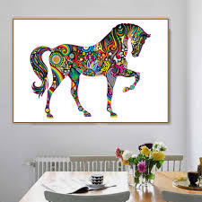 Collage Design On Wall Us 4 99 50 Off Horse White Base Collage Design Animal Canvas Painting Poster Print Pop Art For Home Wall Decoration Living Room Wall Art In Painting